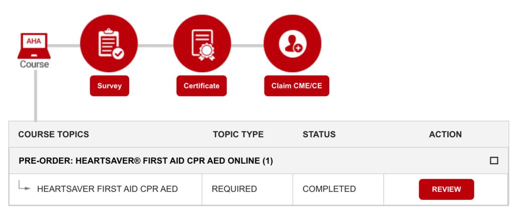 Online AHA Course screenshot